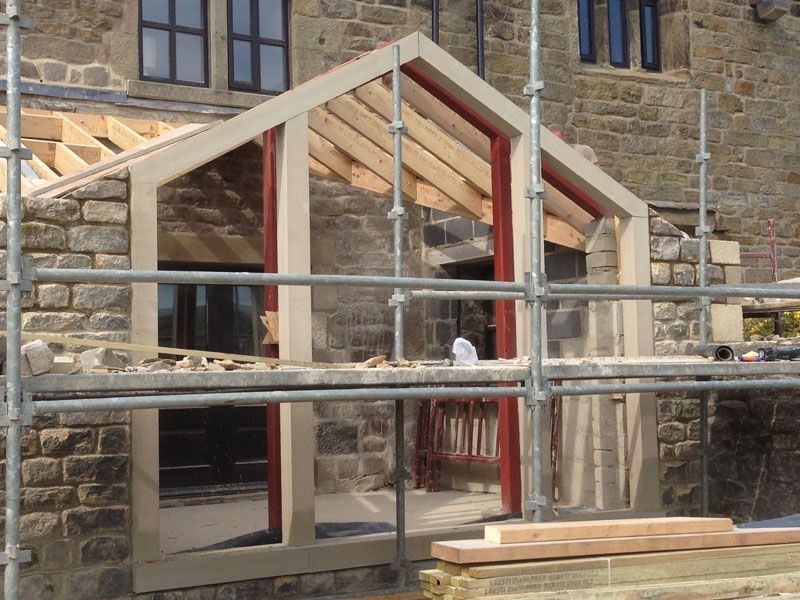 Farmhouse extension cowling for Apex block homes