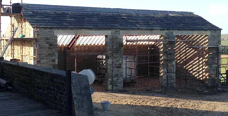 Stone garage block cowling for Garage block